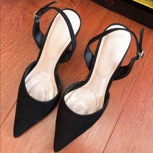 ALDO mid heel sling back black pumps